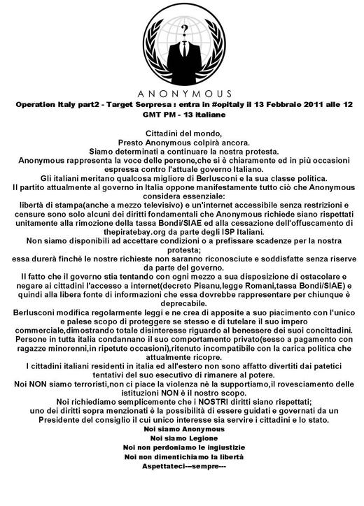 anonymous comunicato Anonymous: nuovo attacco informatico al Governo il 13 Febbraio