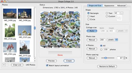 collage mac Shape Collage: creare foto mosaici in alta risoluzione in modo veloce e gratuito