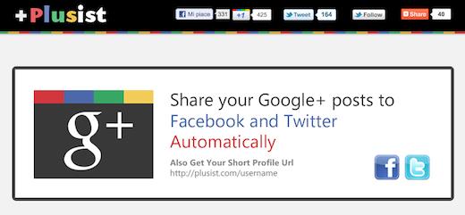 plusists Plusist.com: invia gli aggiornamenti di Google+ in automatico su Facebook e Twitter