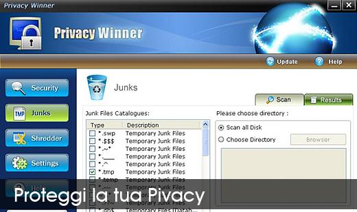 privacy winner Privacy Winner: elimina tutte le tracce delle attività svolte su internet e nel computer